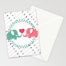 Elephant Love with Arrows Stationery Cards