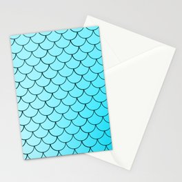 Mermaid Scales In Blue Pattern Pretty & Cute Design For Girls Kids Stationery Cards