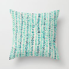 Hand Painted Herringbone Pattern in Mint Throw Pillow