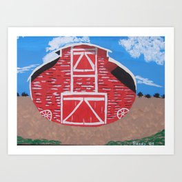 Red Wood Farm Barn Art Print