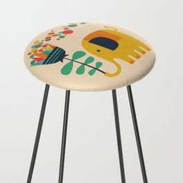 Elephant with giant flower Counter Stool