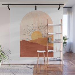 Abstract terracotta landscape, sun and desert Wall Mural