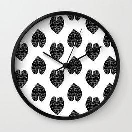 Leaf tropical linocut blockprinted stamp leaves black and white minimal modern pattern art print Wall Clock
