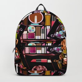 Set of cosmetics and perfumes . Backpack