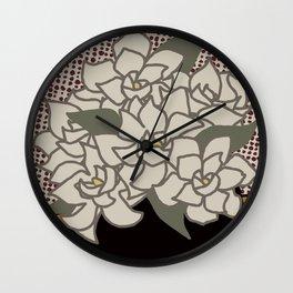 Gardenias in Vase No 01 Wall Clock