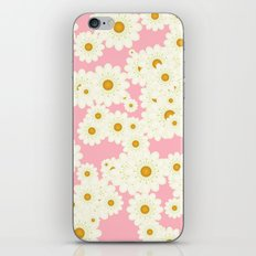 Daisies on pink iPhone & iPod Skin