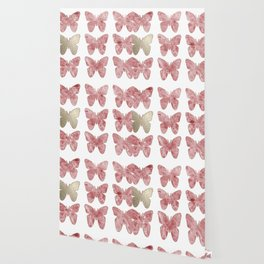Golden rosy mauve butterflies Wallpaper