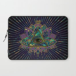 All Seeing Mystic Eye in Lotus Flower Laptop Sleeve