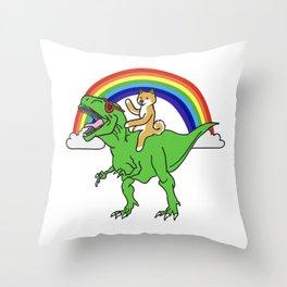 Shiba Inu Riding T-Rex Dinosaur  Throw Pillow