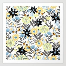 Butterflies and flowers Art Print