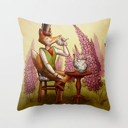 Fox, Foxgloves, and Tea Throw Pillow