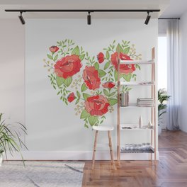 Rose Heart watercolor Wall Mural