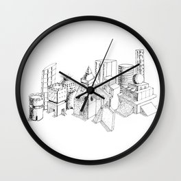 cubes and balls in the city . Art Wall Clock