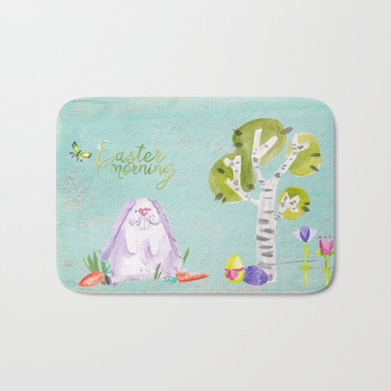 Easter Morning I- Animal Rabit Hare Bunny Spring for children Bath Mat