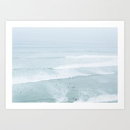 Tiny Surfers from the Sky, Lima, Peru Art Print