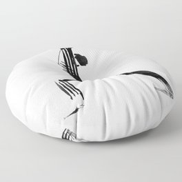 Moder black and white, minimalist ink figure yoga drawing, yoga illustration, yoga pose, yoga art Floor Pillow