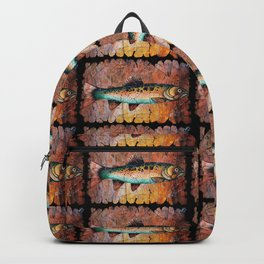 Vintage Red Trout Fresco by - OLena Art Backpack