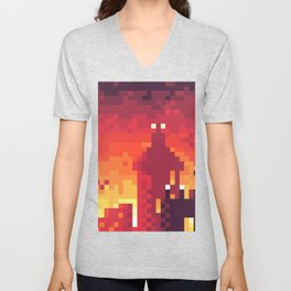 Pixel Town at Sundown Unisex V-Neck