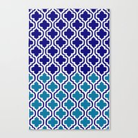 morrocan Canvas Prints featuring Moroccan Blue tile pattern1 by Doodles & Designs by NK