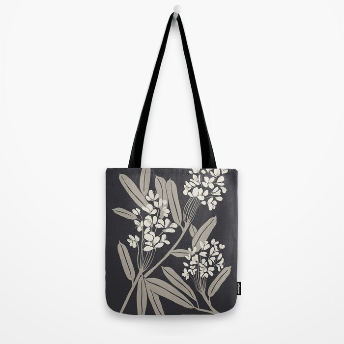 Boho Botanica Black Tote Bag