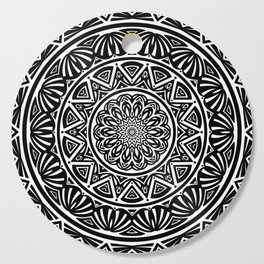 Black and White Simple Simplistic Mandala Design Ethnic Tribal Pattern Cutting Board