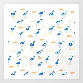 Blue Summer Flamingos Art Print