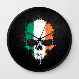 Flag of Ireland on a Chaotic Splatter Skull Wall Clock