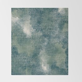 Grunge Abstract Art in Teal, Olive Green and Cream Throw Blanket