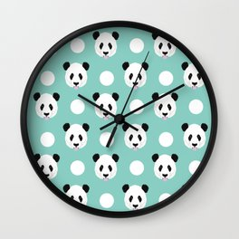 Panda polka dots pattern print minimal trendy kids design pillow cell phone cute panda cub character Wall Clock