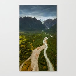 New Zealand - Flying through the Fox Glacier valley Canvas Print