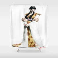 geisha Shower Curtains featuring Geisha by arnedayan