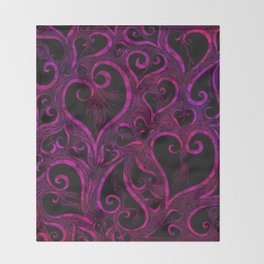 Tendrils of Love xoxo Pink and purple Throw Blanket