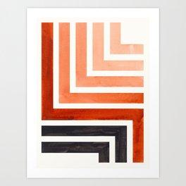 Burnt Sienna Mid Century Modern Watercolor Colorful Ancient Aztec Art Pattern Minimalist Geometric P Art Print
