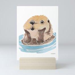 Otter animal marten swimming water present Mini Art Print