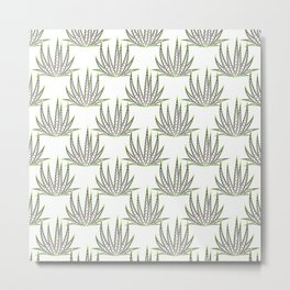 Modern trendy green brown cactus floral Metal Print