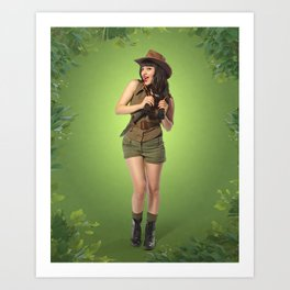 """""""Attention Campers"""" - The Playful Pinup - Jungle Adventure Pin-up Girl by Maxwell H. Johnson Art Print"""