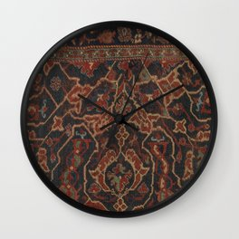 Boho Chic Dark II // 17th Century Colorful Medallion Red Blue Green Brown Ornate Accent Rug Pattern Wall Clock