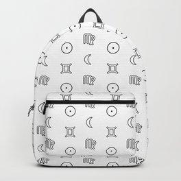 Gemini/Virgo + Sun/Moon Zodiac Glyphs Backpack