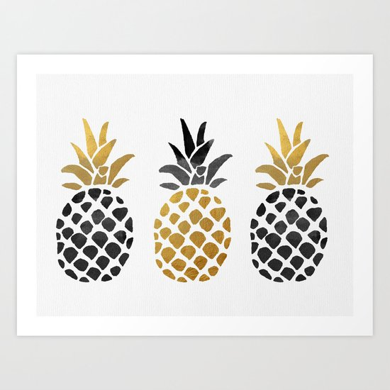gold pineapple Art Print