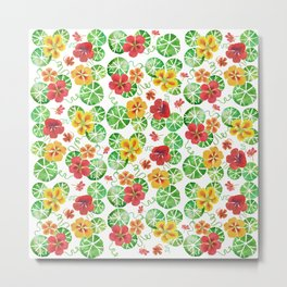 Watercolor Floral Simple Garden Nasturtium Flowers Metal Print