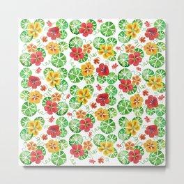 Watercolor Floral Simple Garden Nasturtium Flowers Metal Print