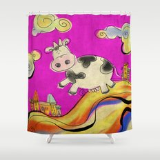 Cow - magenta Shower Curtain