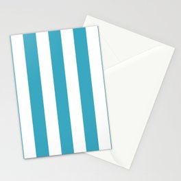 Moonstone turquoise - solid color - white vertical lines pattern Stationery Cards