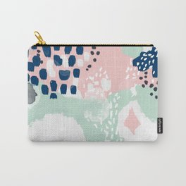 Ostara - minimal abstract painting trendy navy mint and pink pastels acrylic large minimalist Carry-All Pouch