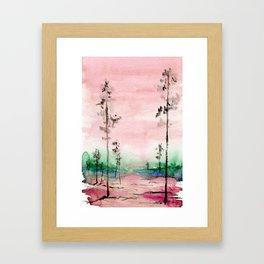 Pink and Green Watercolor Landscape Framed Art Print