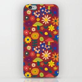 60's Country Mushroom Floral in Rust iPhone Skin
