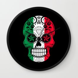 Sugar Skull with Roses and Flag of Italy Wall Clock
