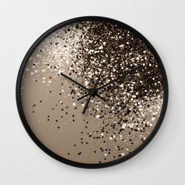 Sparkling Sepia Lady Glitter #1 #shiny #decor #art #society6 Wall Clock