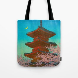 Vintage Japanese Woodblock Print Pastel Colors Blue pink Teal Shinto Shrine Cherry Blossom Tree Tote Bag