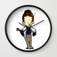jenny liz rome Wall Clocks featuring JENNY by Space Bat designs